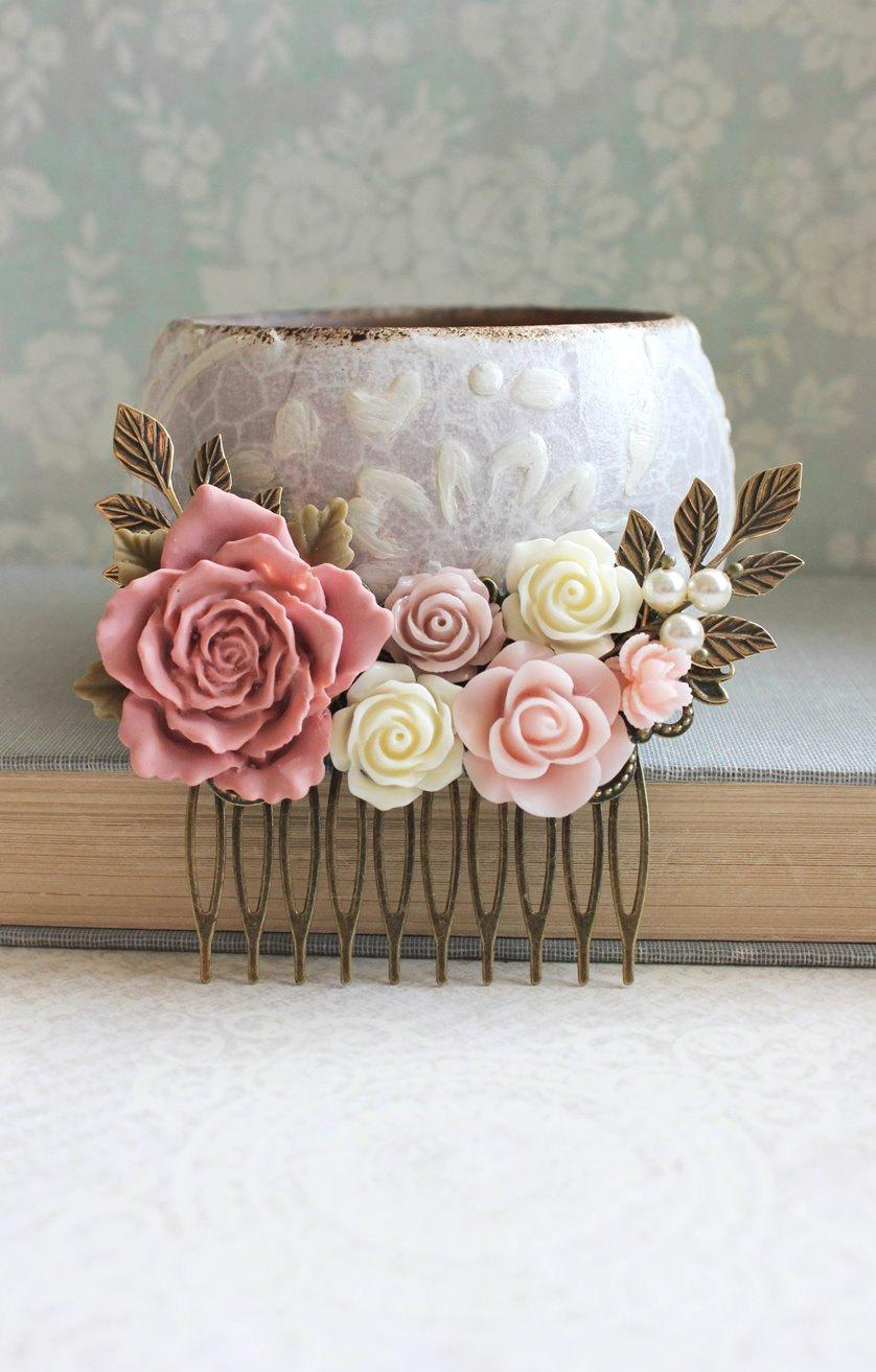 Wedding - Rose Hair Comb Country Wedding Dusty Rose Pink Floral Collage Romantic Vintage Style Hair Comb Bridemaids Gifts Light Pink Bridal Hair Piece