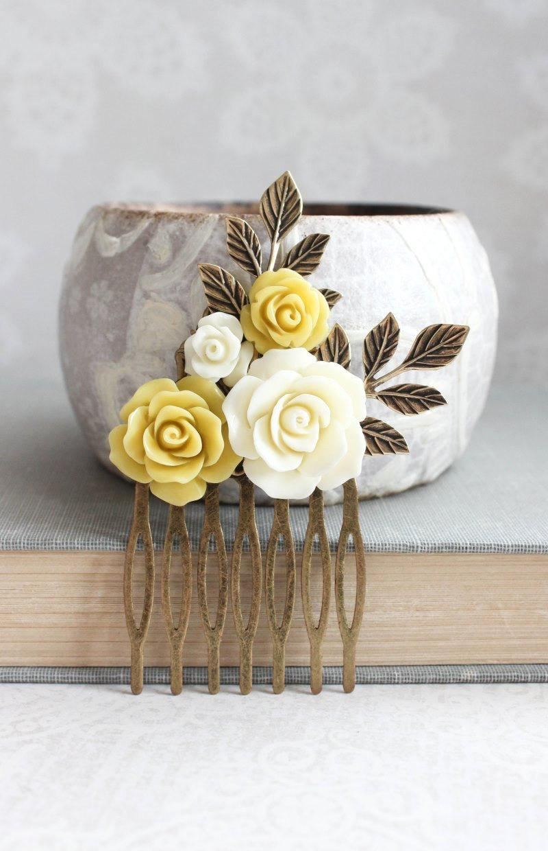 Bridal Hair Comb Mustard Yellow Flowers For Hair Branch Hair