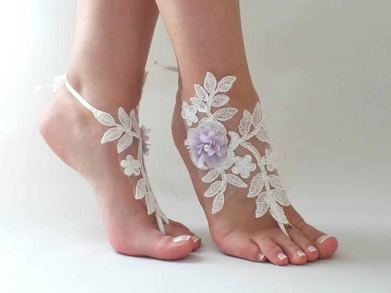 Mariage - Beach wedding barefoot sandals Nude shoes, Bridal party, Bridesmaid gifts Ivory lilac Flowers Lace Barefoot Sandals Wedding Barefoot - $26.90 USD