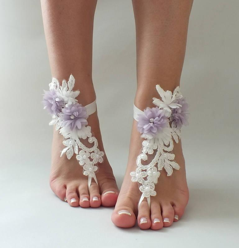 f26ef259104632 Ivory lilac Flowers Lace Barefoot Sandals Wedding Barefoot beach wedding  barefoot sandals Nude shoes