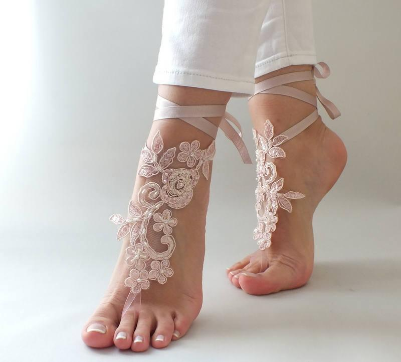 Wedding - 5 Pairs, 7 Colors Bridesmaid Gifts barefoot sandals,ivory Lace Sandals Beach wedding shoes, beach anklets, Beach Wedding barefoot sandals, - $120.00 USD