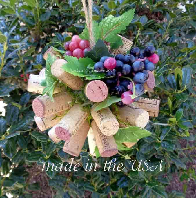 Mariage - SALE Wine Cork kissing ball, pomander/flower girl bouquet/ pew decor, rustic wedding, floral alternative