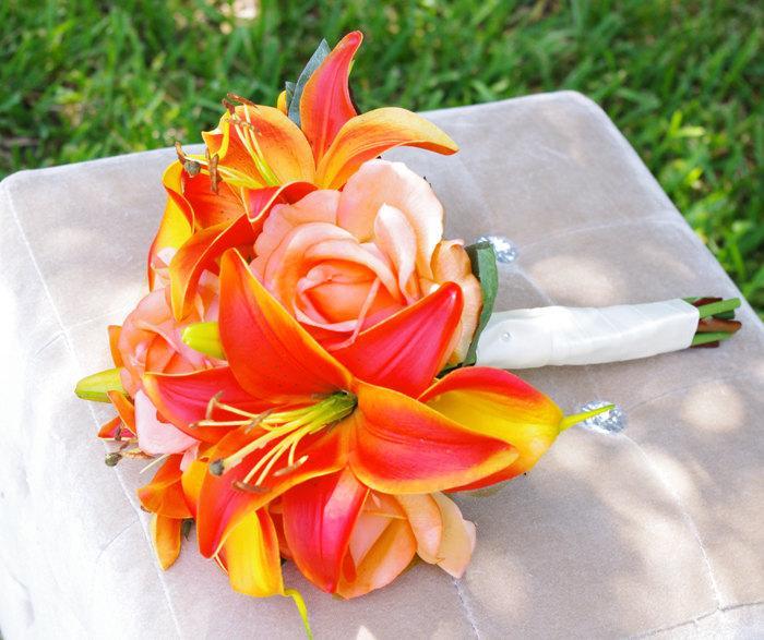 زفاف - Orange Tropical or Fall Wedding Bouquet - Lilies, Callas and Roses Silk Wedding Bouquet  - Orange Touch Bride Bouquet