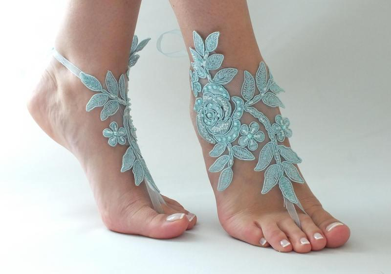 Blue Lace Barefoot Sandals Beach Wedding Bridal Shoes Bridesmaid Something