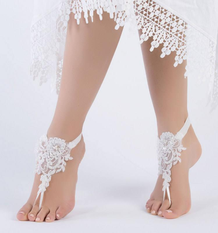 Hochzeit - ivory lace barefoot sandals, FREE SHIP, beach wedding barefoot sandals, belly dance, lace shoes, bridesmaid gift, beach shoes - $26.90 USD