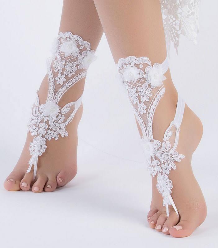 Unique Bridal Shoes White Lace Barefoot Sandals Wedding Flexible Wrist Beach 35 90 Usd