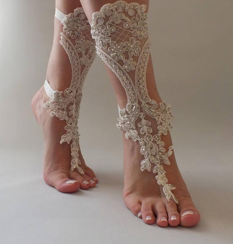 Hochzeit - Lace Barefoot Sandals Beach Wedding Barefoot Sandals Beach Shoes Beach Sandals Elegant Ivory Lace Wedding Shoes - $52.90 USD