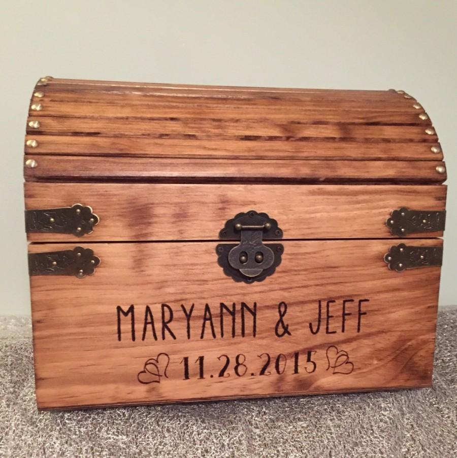 Свадьба - Extra Large! wedding card box, treasure chest style, rustic wedding box with heart accents