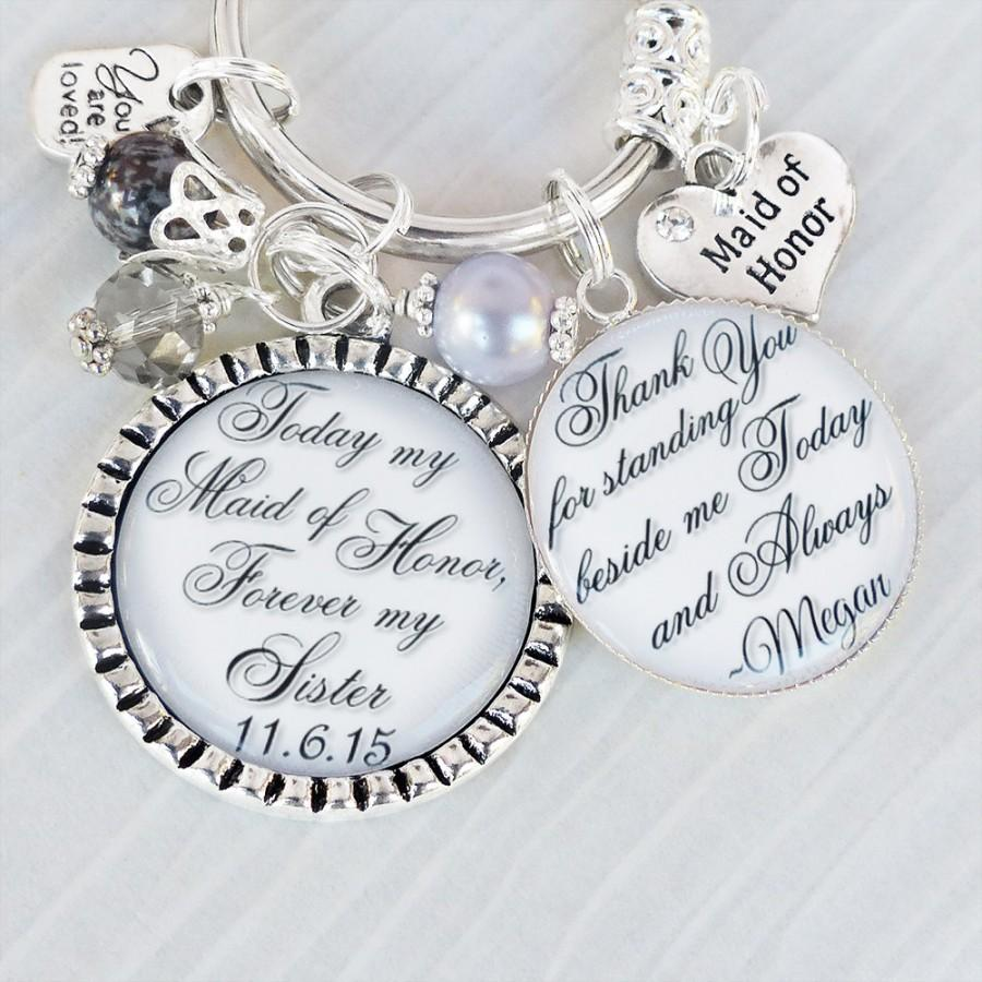 Personalized Maid Of Honor Keychainor Necklace Bridesmaid Gift