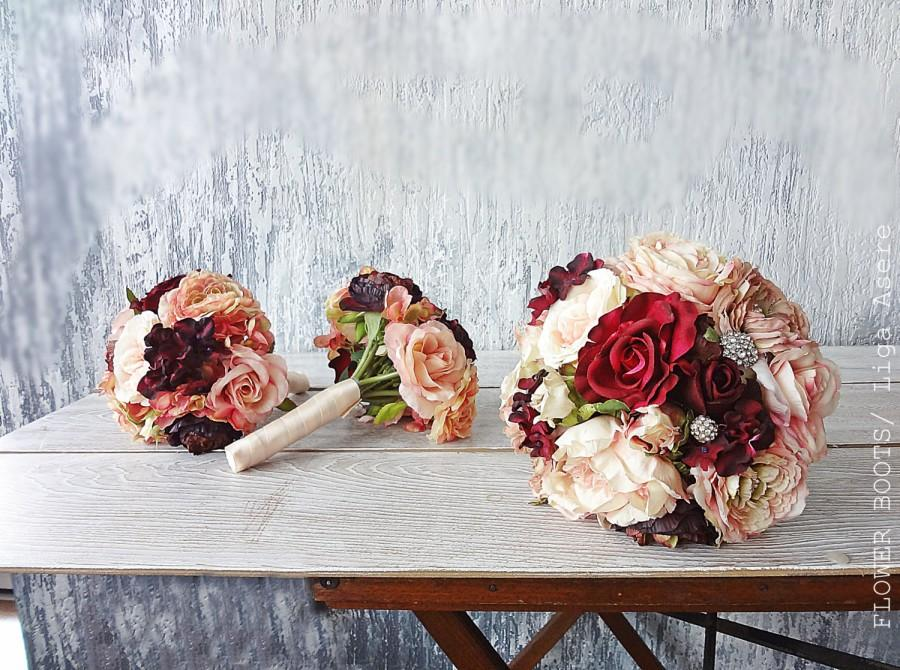 Mariage - Peach and burgundy Bridal bouquet bridesmaids bouqets Wedding flower package Real touch silk roses Ranunculus  Peonies Hydrangeas