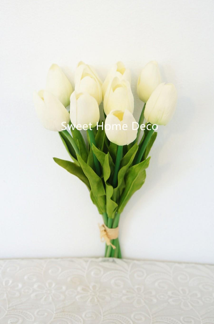 Mariage - JennysFlowerShop Latex Real Touch 13'' Artificial Tulip 10 Stems Flower Bouquet for Home/Wedding White Re-stock on 05/15/17