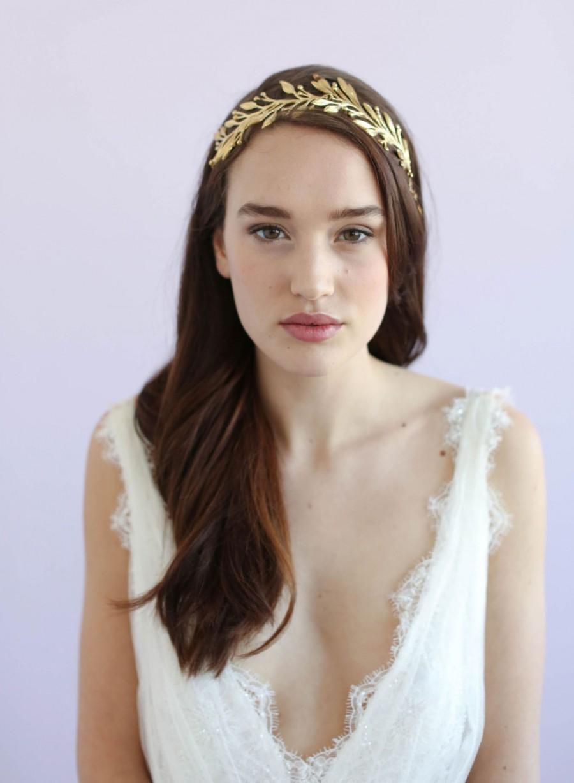 زفاف - Bridal headband - Dramatic leaf and blossom headband - Style 665 - Made to Order