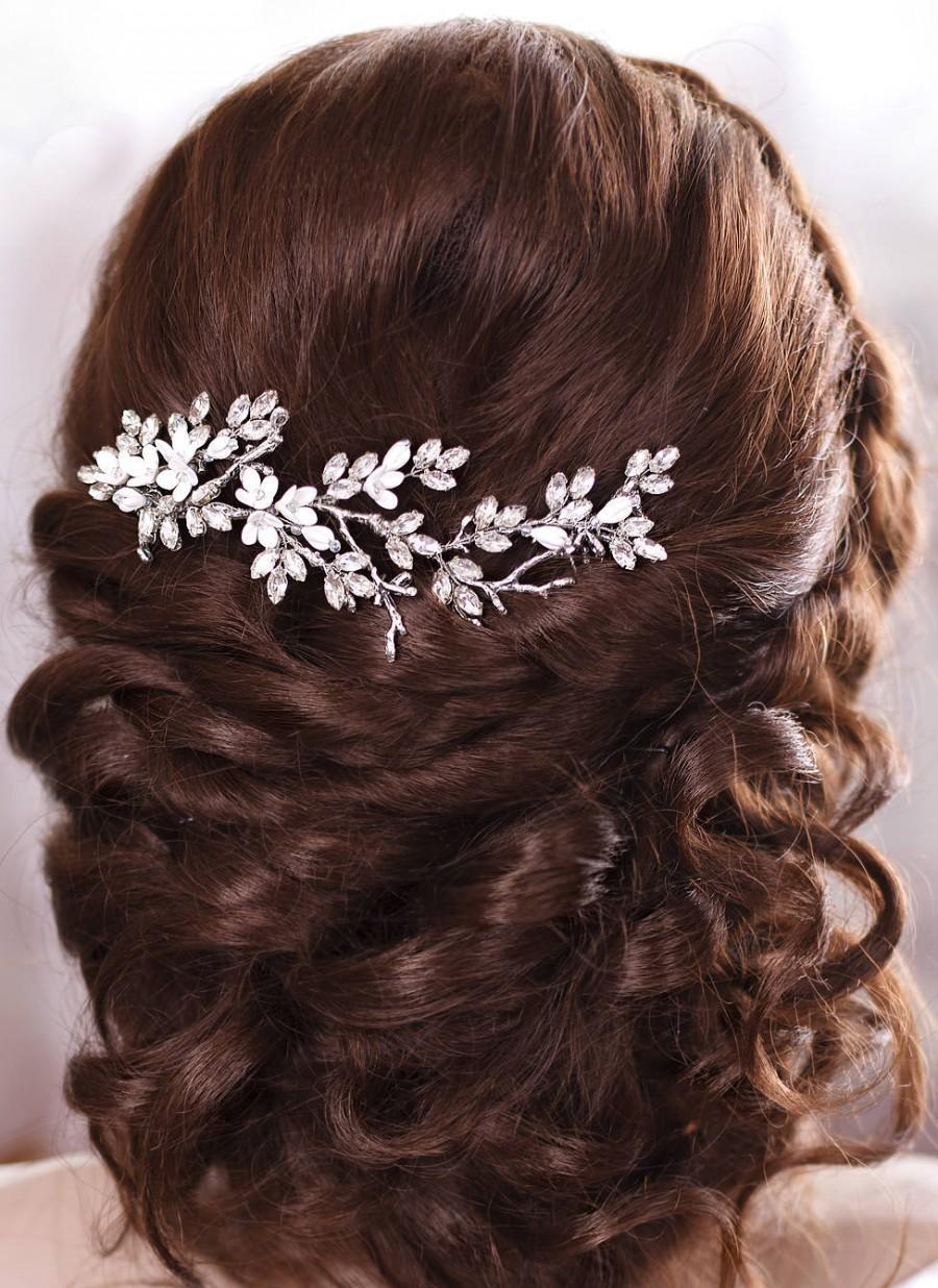 زفاف - Bridal hairpiece Crystal hair comb Wedding headpiece Crystal hair piece Floral Bridal Hair Comb Flower Hair Comb Rhinestone headpiece