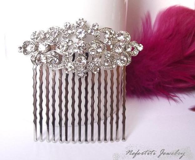 زفاف - Vintage style bridal hair comb, crystal brooch hair comb, wedding hair accessories, crystal bridal hair comb hair piece, wedding hair comb
