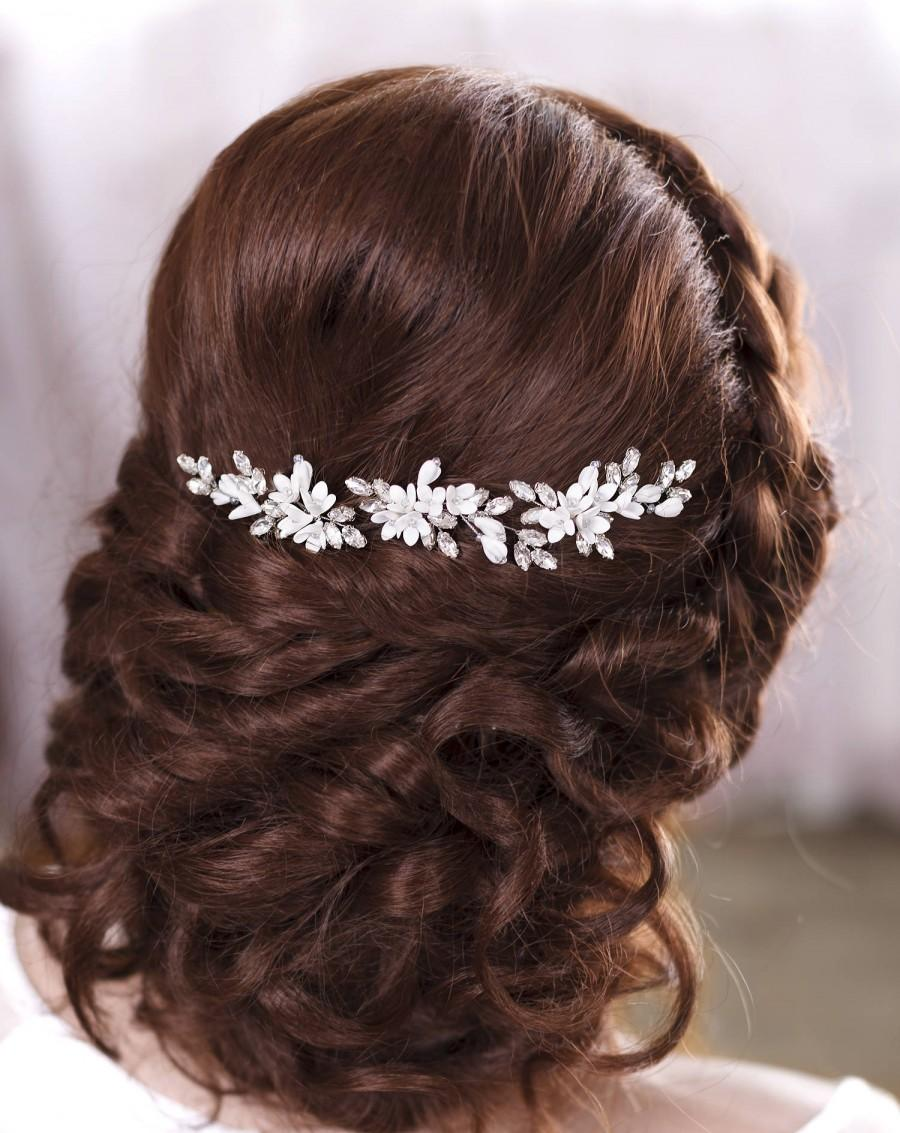 زفاف - Ivory bridal hair pins White bridal hairpiece Ivory hair piece Rhinestone hair pins Crystal hair pins Bridal Hair Piece Rhinestone headpiece