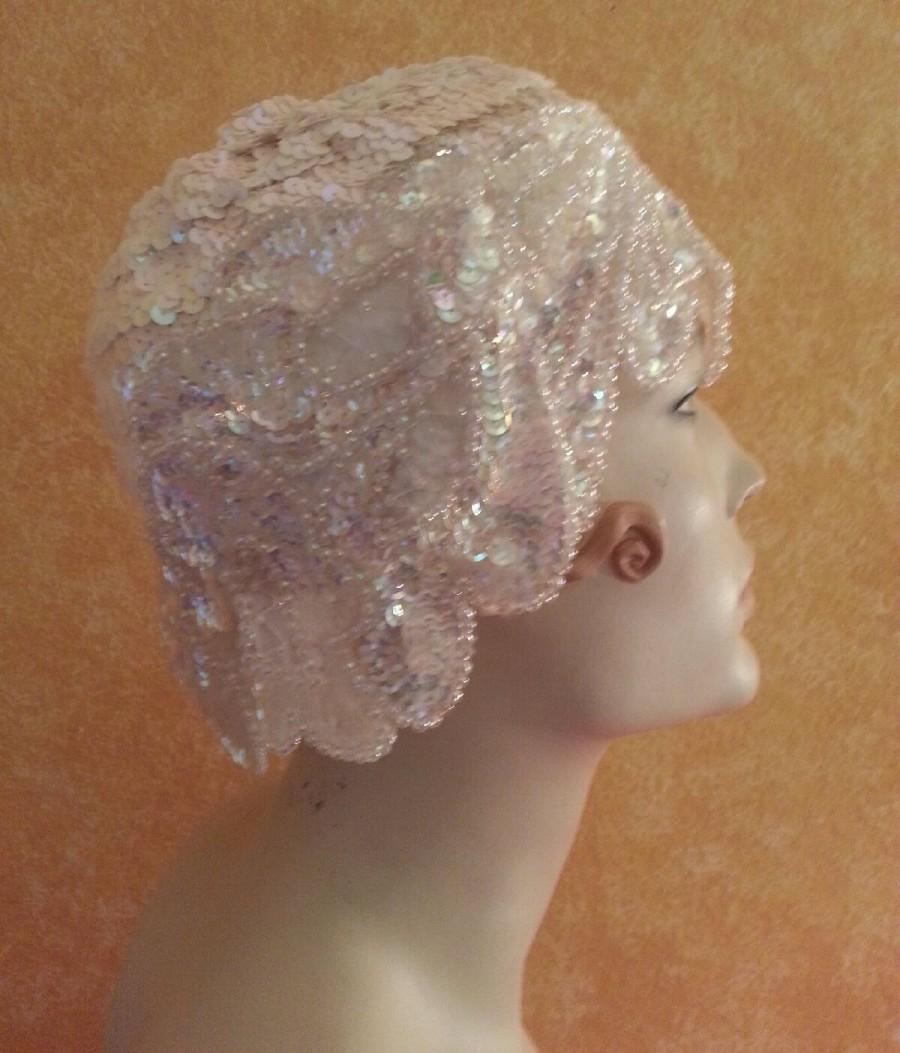 زفاف - Gatsby Roaring 20's Flapper Style Iridescent White Sequined Headpiece Hat  Bridal Wedding Costume Historical Party Club Burlesque