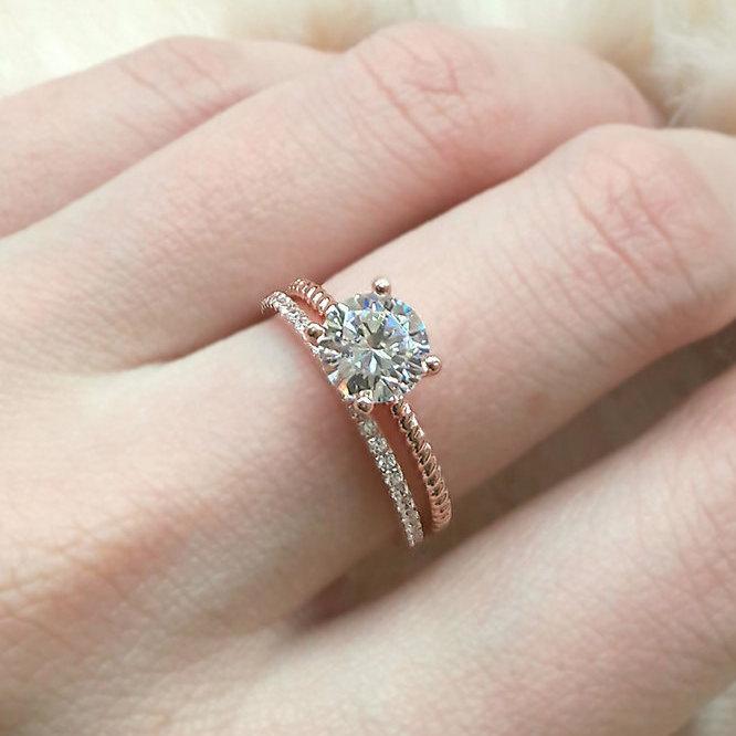 زفاف - Rose Gold Dainty Ring - Sterling Silver Engagement Ring - Twist Band Ring - Anniversary Ring - Cubic Zirconia Solitaire Ring - A55