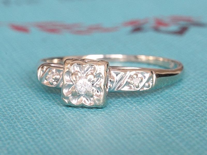 Hochzeit - 15% OFF, Antique Diamond Engagement Ring, Vintage Solitaire Edwardian Ring, 14k White Gold Old Cut Diamond Solitaire Ring, Promise Ring