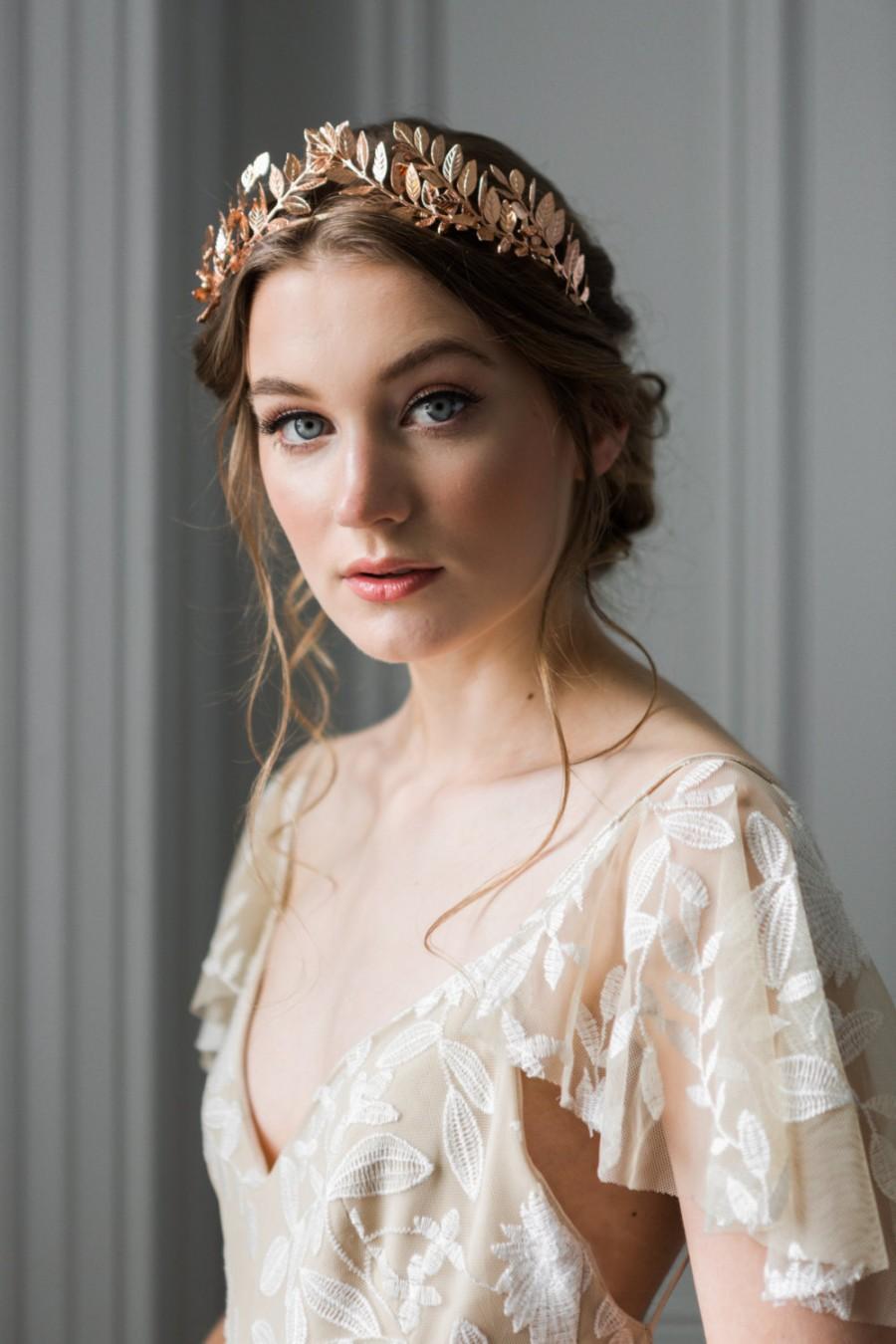 Mariage - Laurel Leaf Tiara, Rose Gold Tiara, Leaf Halo, Leaf Headpiece, Leaf crown, bridal tiara, Leaf Headband, boho crown, bohemian, fall #101