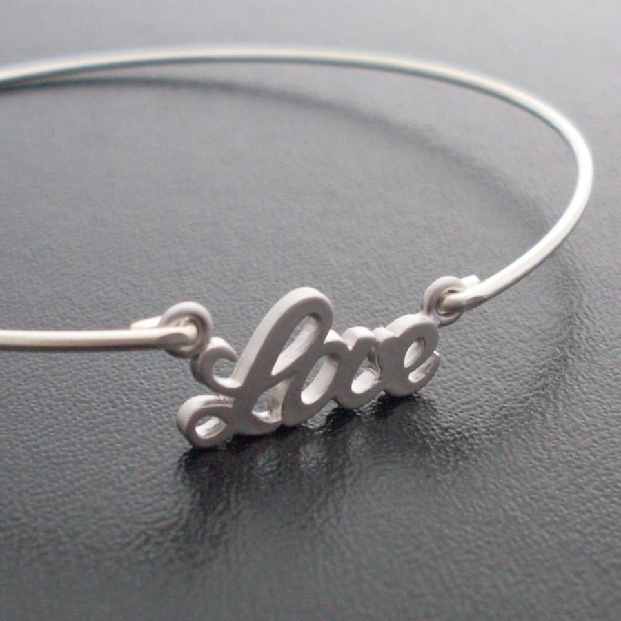 Mariage - Love Charm Bangle Bracelet, Unique Bridesmaid Gift Idea, Bridal Party Gift, Bridal Party Jewelry, Unique Gifts For Bridesmaids