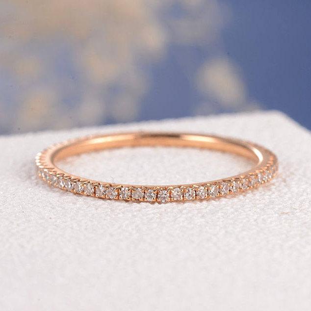 Mariage - Rose Gold Wedding Band Diamond Stacking Ring Thin Eternity Band Simple Micro Pave Dainty Minimalist Jewelry Matching Wedding Bridal Rings