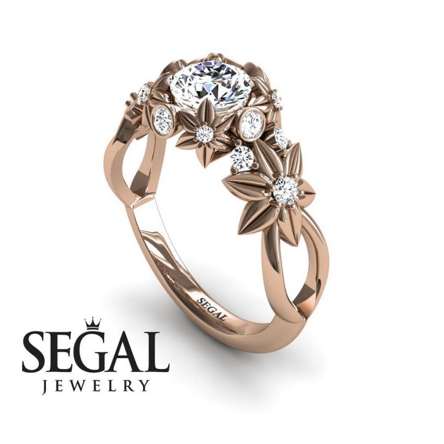 Mariage - Rose Gold Engagement Ring Moissanite Engagement Ring Nature Inspired Ring Flower Ring Art Deco Ring Rose Gold Engagement Ring - Katherine