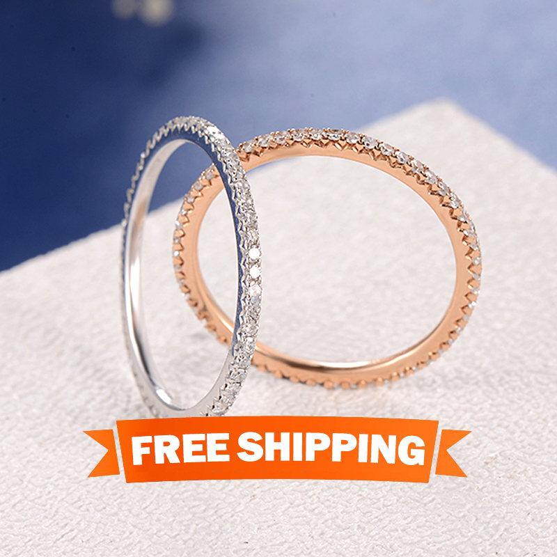 Wedding - Diamond Wedding Band Women Rose Gold Eternity Band Stacking Bridal Set Diamond Thin Micro Pave Dainty Simple Everyday Minimalist White Gold
