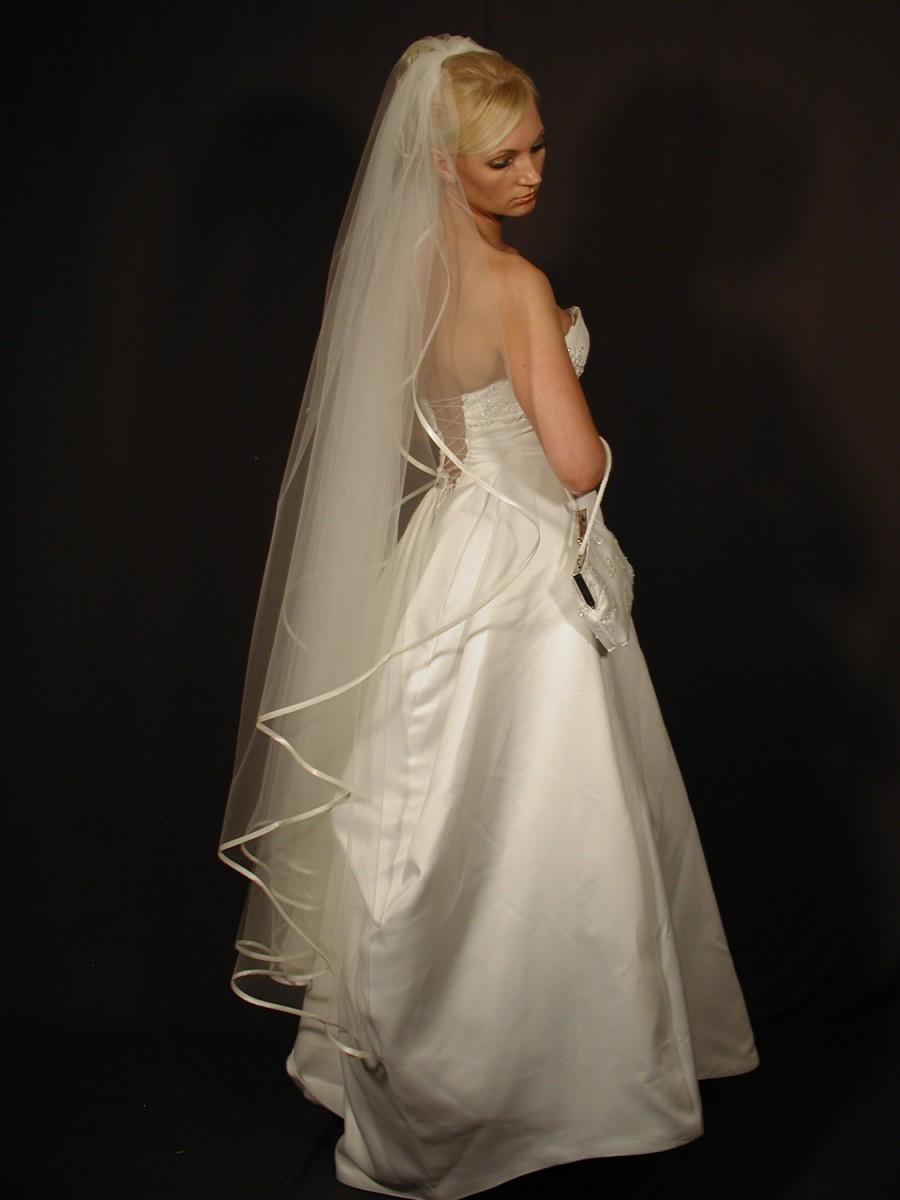 "Mariage - Angel cut/water fall wedding veil with 1/4"" satin ribbon. Bridal veil angel"