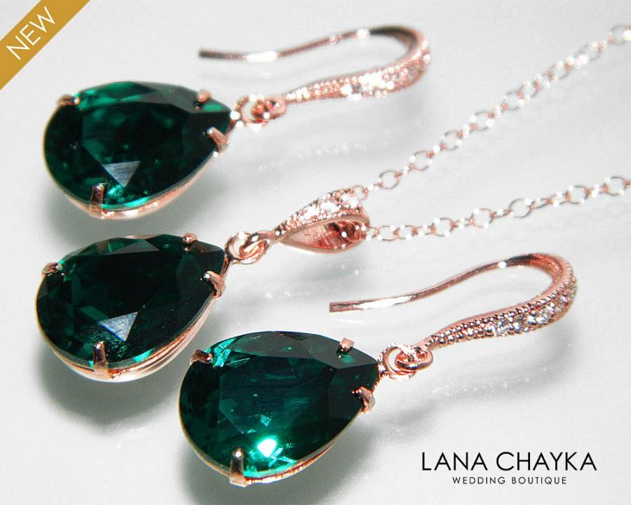 Emerald Green Rose Gold Jewelry Set Emerald EarringsNecklace Bridal