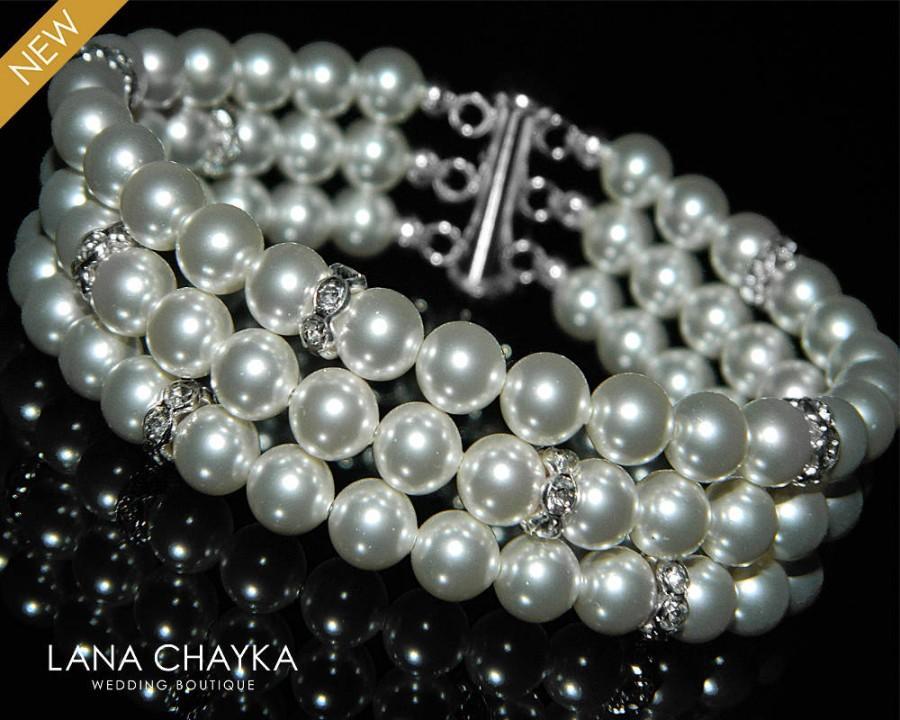 Mariage - White Pearl Cuff Bridal Bracelet Swarovski Pearl Silver Bracelet Wedding Pearl Bracelet Bridal Jewelry Three Strand Pearl Cuff Bracelet - $36.00 USD