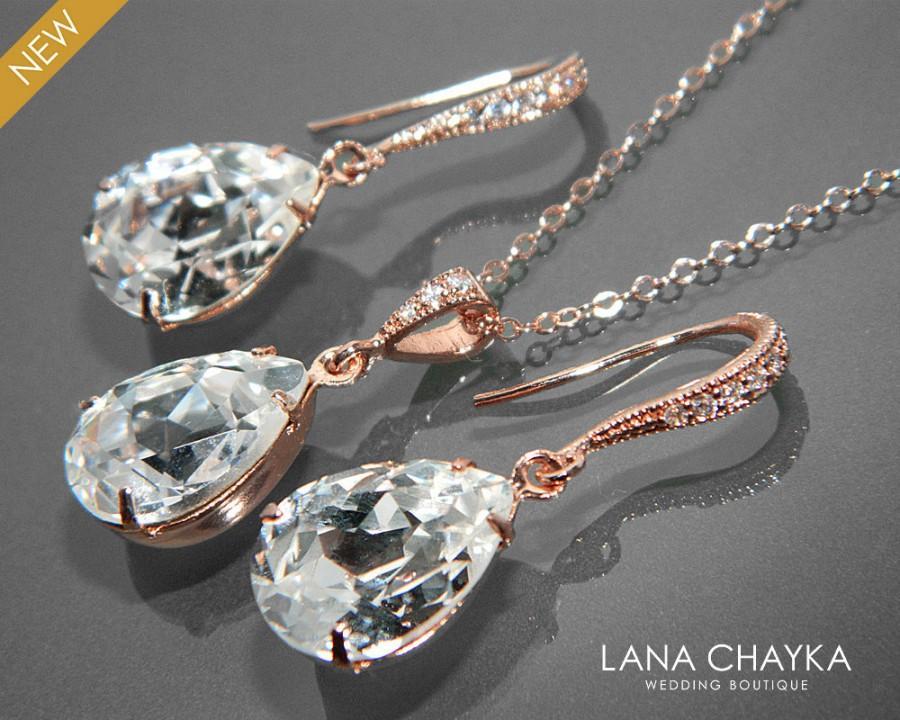 زفاف - Rose Gold Crystal Bridal Jewelry Set Clear Crystal Earrings&Necklace Set Swarovski Rhinestone Jewelry Set Wedding Bridesmaids Jewelry Sets - $25.00 USD
