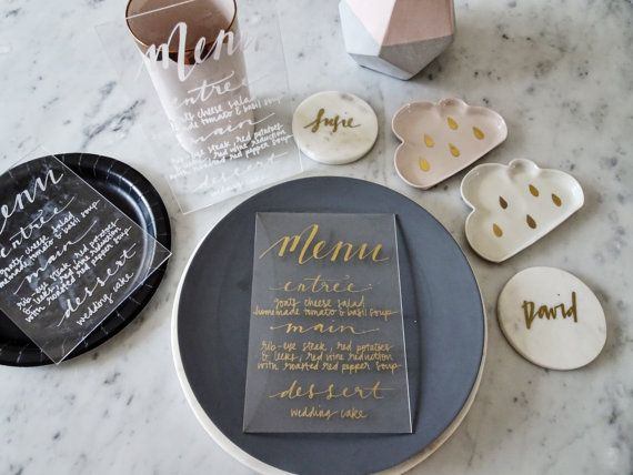 Mariage - Metallic Gold Lettering Perspex Clear Sign Custom Hand Drawn / Acrylic Menu Signs / Modern Calligraphy / Party Wedding / 14cm X 20.5cm