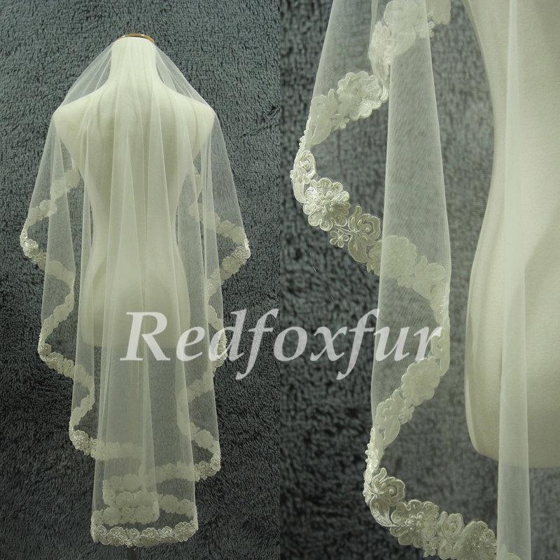 زفاف - Bridal Veil,1T Ivory veil,Lace Flowers edge veil,beaded,1.5m length veil,Alencon lace veil,Wedding dress veil,Wedding Accessories