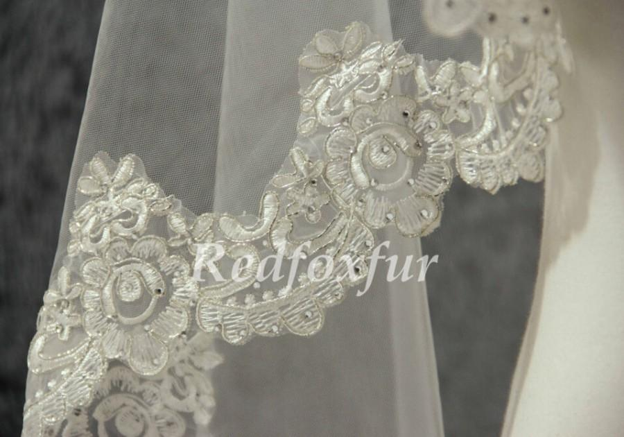 Свадьба - Lace Edge Veil, 1.5m veil, Ivory Bridal Veil, Rhinestones Alencon Lace Veil, Chapel Veil, Wedding Veil, Wedding Accessories