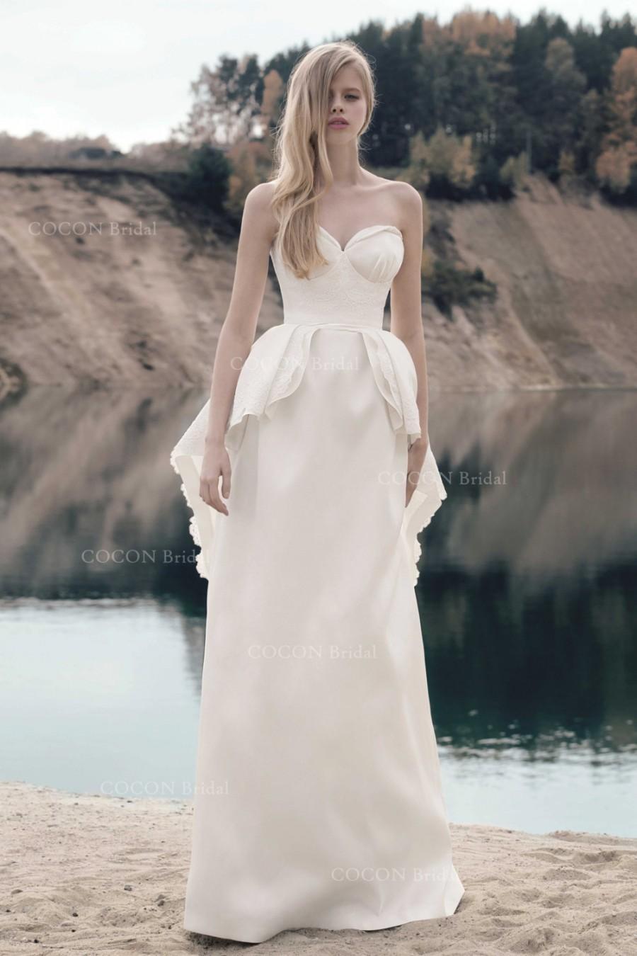 Designer Wedding Mikado Dress With Corded Lace Unusual Wedding Dress