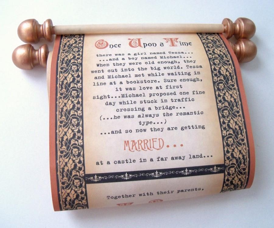 Copper And Black Wedding Invitation Scrolls, Medieval Wedding ...