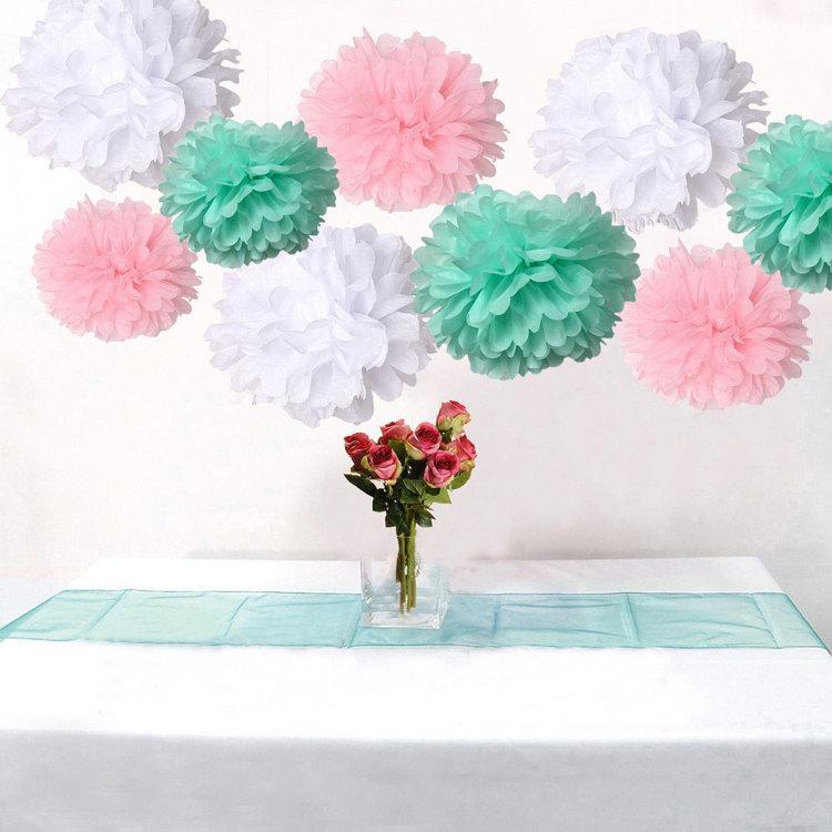 18 Pack Mixed Pink Mint Green White Diy Tissue Paper Flower Pom Poms