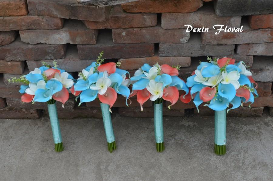 Mariage - 4 Wedding Bouquets-Real touch Turquoise Aqua Blue Coral Callas Lilies White Plumerias Rustic Silk Flowers Bridal Bouquets