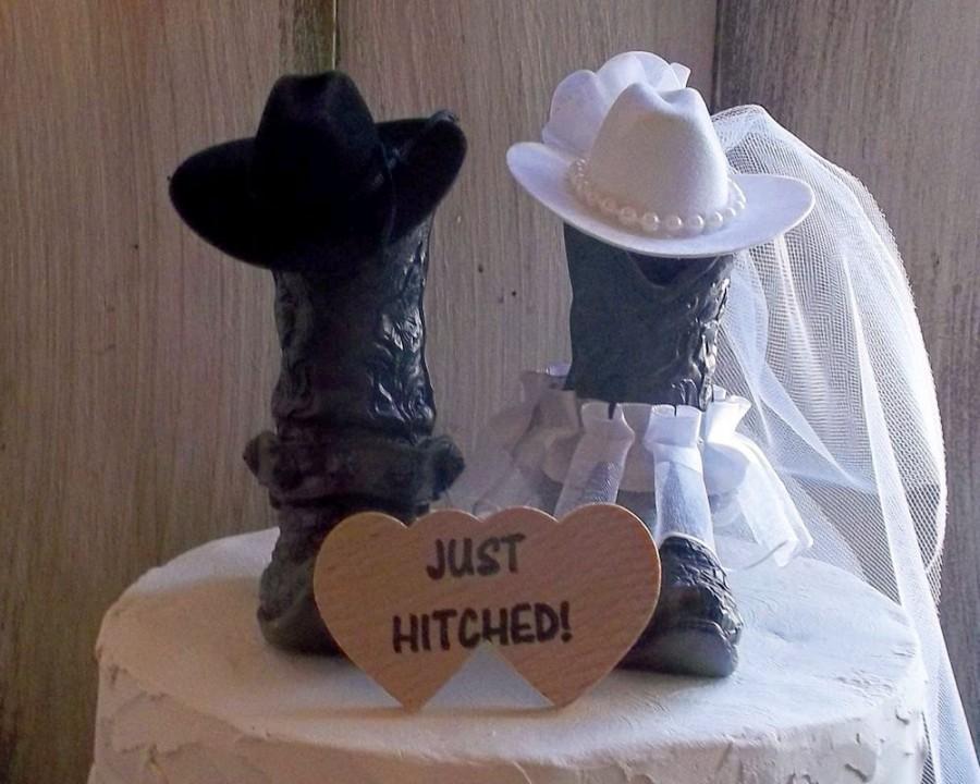 Country Wedding Cake Topper Rustic Western WeddingCowboy Cowboy Boot Cowgirl