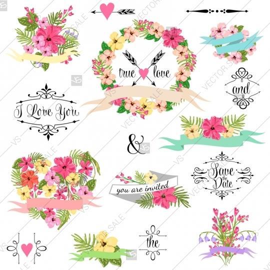 Hochzeit - Wedding graphic clip art set, wreath, flowers, arrows, hearts, laurel, ribbons and labels