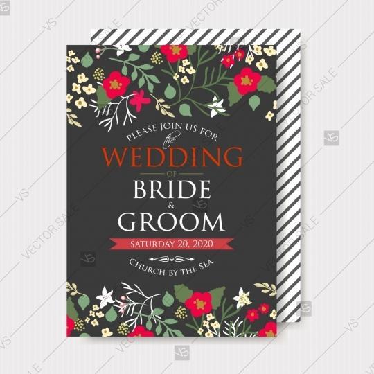 Wedding - Wedding invitation with chrysnthemum and peony