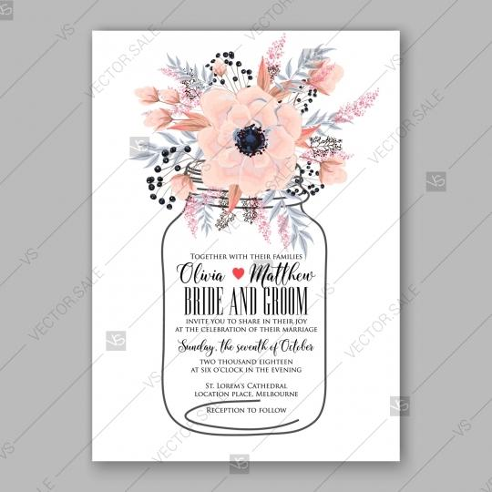 Wedding - Gentle anemone wedding invitation card printable template