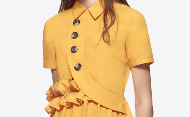 Wedding - Self Portrait Button Shirt Dress Mustard