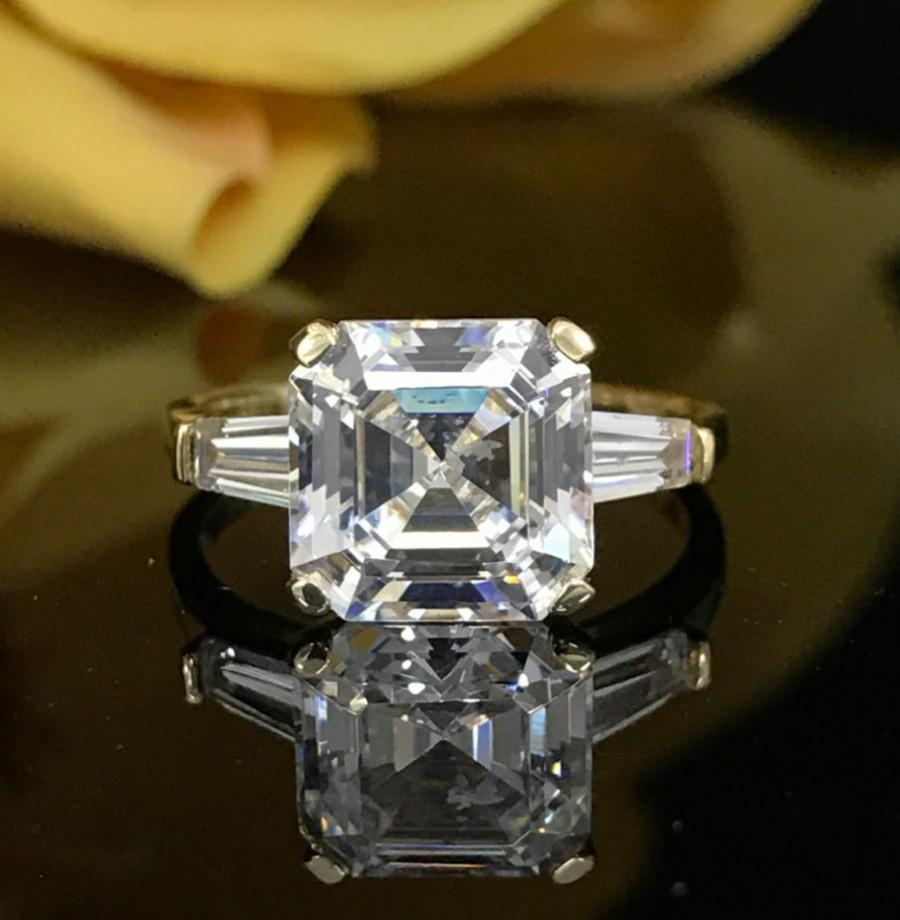 Mariage - 3.00 CTW  Asscher Cut Engagement/Wedding/Anniversary/Promise Ring 14K Yellow Gold +FREE GIFT Item #4535