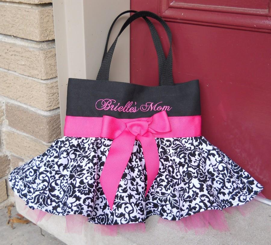زفاف - Embroidered dance bag, dance bag, ballet bag, Black Bag with Black and White Damask Skirt and Hot Pink Tutu Tote Bag - STB59 - EST