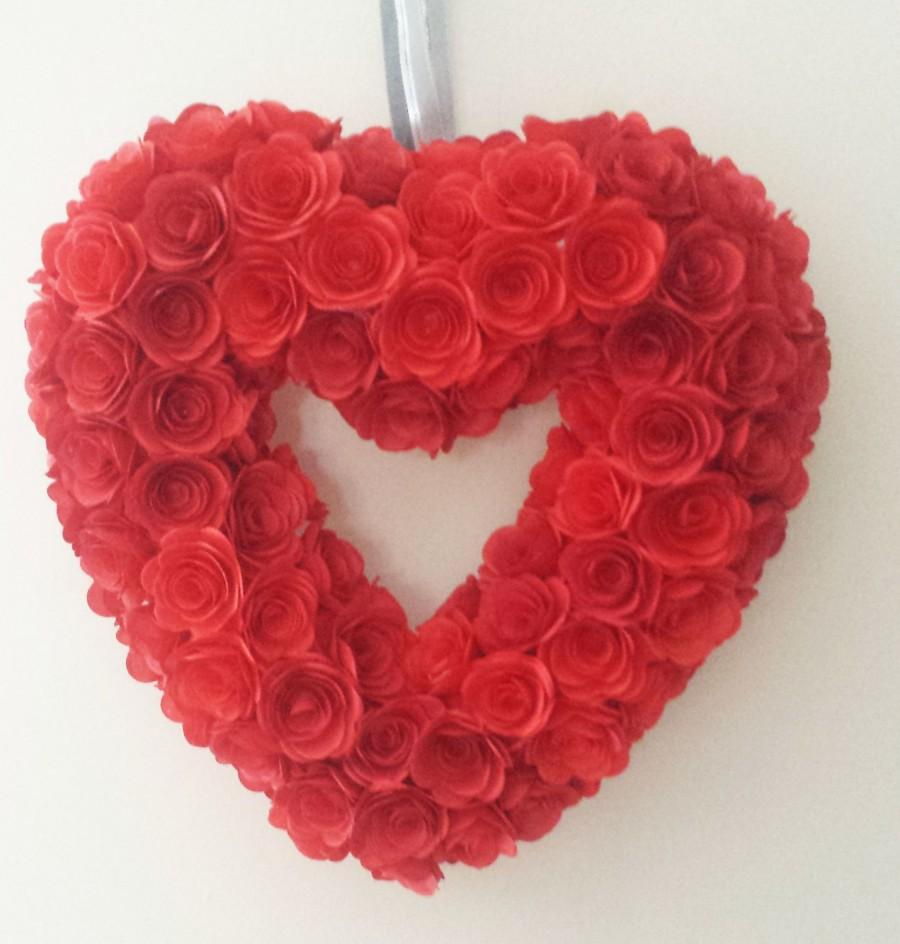 "Свадьба - Red Heart Wreath, Paper Rose Flowers, Decoration,  Valentines Gift  - Wedding Decor, Home Decor or Gift 15cm (6"")"