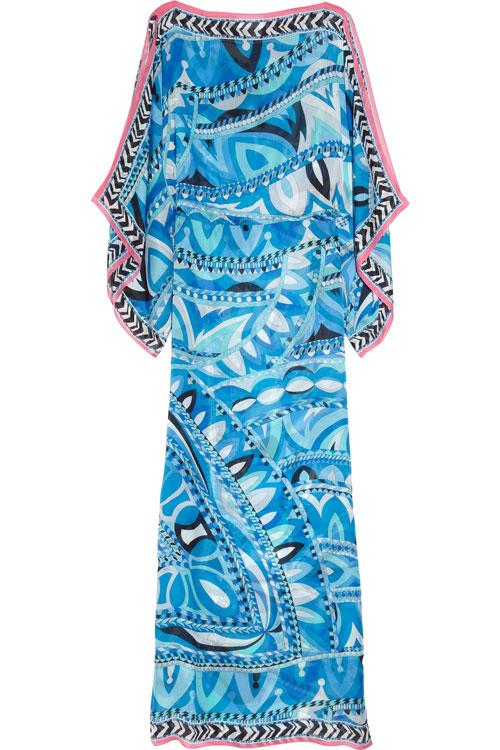 Wedding - EMILIO PUCCI Blue Printed Silk-Chiffon Kaftan Maxi Dress