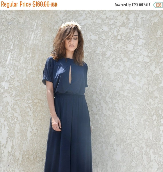 Wedding - Bridesmaids Hot Sale Dark blue bridesmaid dress ,with slit top, floor length bridesmaid dress