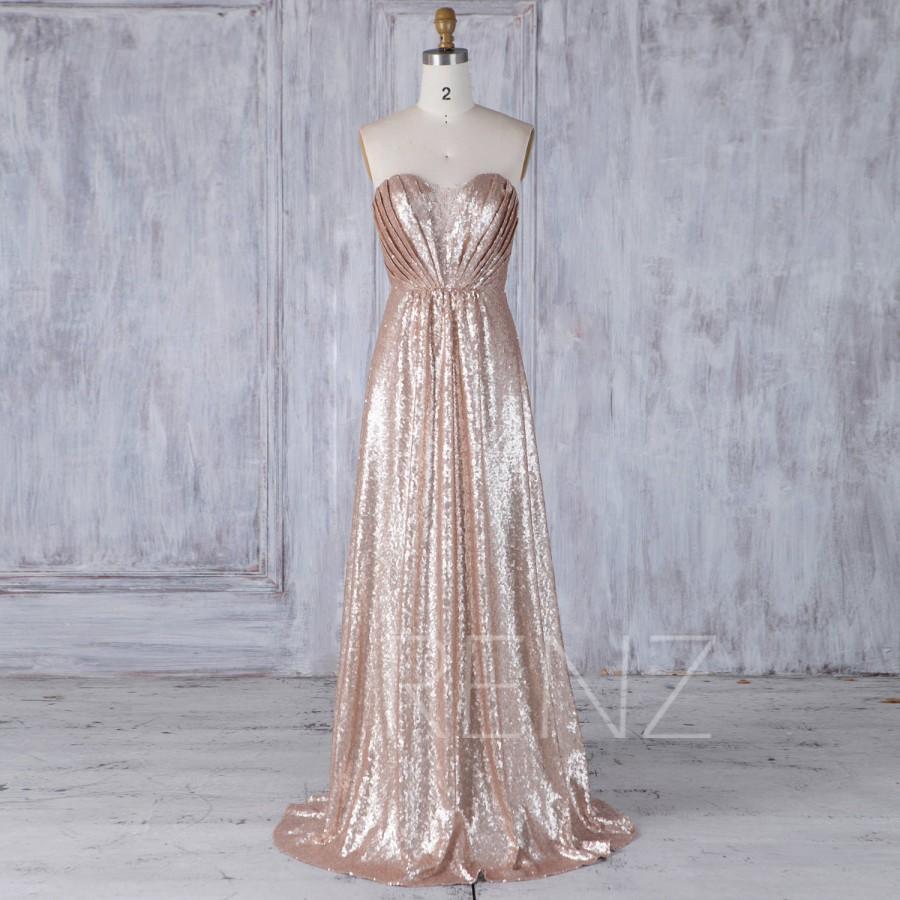 2017 Tan Sequin Bridesmaid Dress, Lace Sweetheart Wedding Dress ...