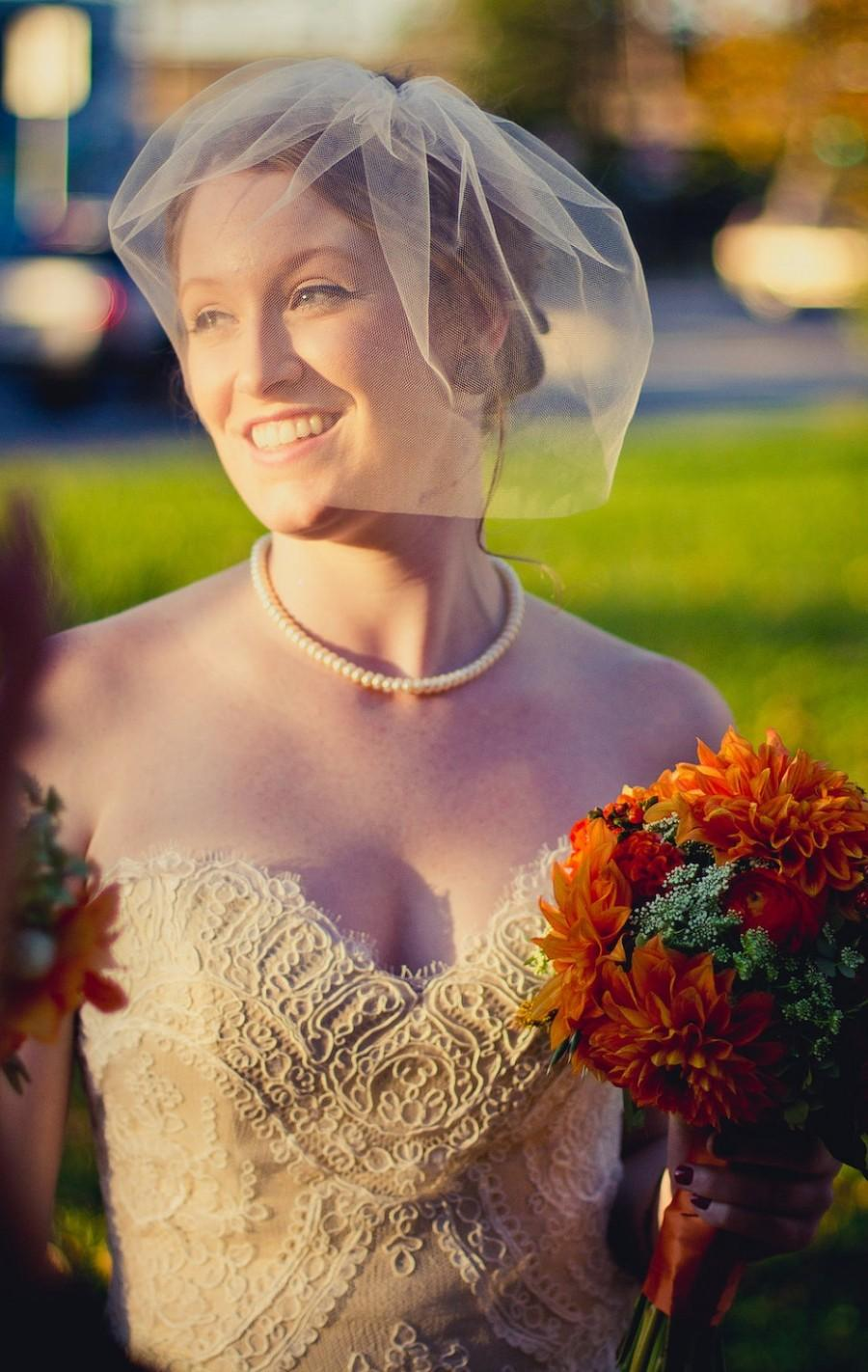 زفاف - Tulle blusher veil - 12 inch bridal veil